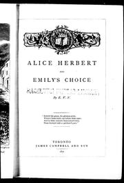 Cover of: Alice Herbert ; and, Emily