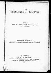 Cover of: An introduction to the textual criticism of the New Testament | Benjamin Breckinridge Warfield