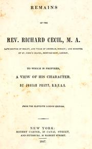 Remains of the Rev. Richard Cecil ...