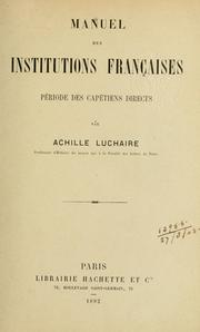 Cover of: Manuel des institutions françaises