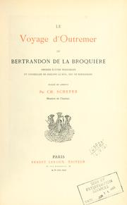 Cover of: Le voyage d'outremer de Bertrandon de la Broquière by Bertrandon de La Brocquière