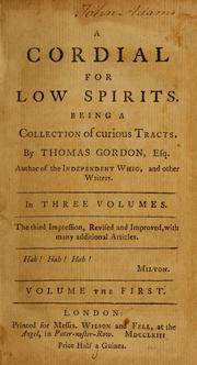 Cover of: A cordial for low spirits | Gordon, Thomas