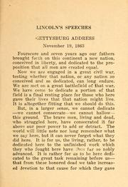 Cover of: Speeches of Lincoln