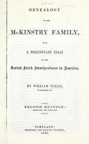 Cover of: Genealogy of the McKinstry family | William Willis