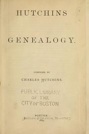 Hutchins genealogy by Charles Hutchins