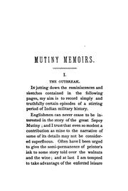 Cover of: Mutiny memoirs