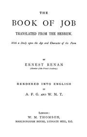 Cover of: The book of Job | Ernest Renan