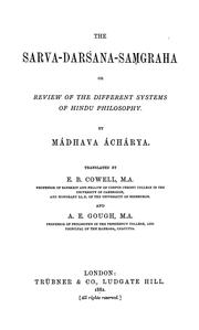 Cover of: The Sarva-darśana-saṃgraha, or, Review of the different systems of Hindu philosophy