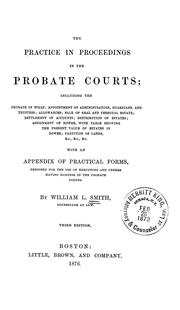 Cover of: The practice in proceedings in the Probate courts | William Henry Leland Smith