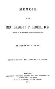 Cover of: Memoir of the Rev. Gregory T. Bedell | Tyng, Stephen H.