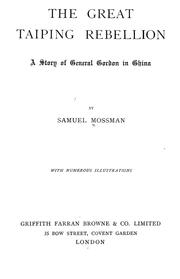 Cover of: The great Taiping Rebellion | Samuel Mossman
