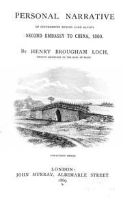 Cover of: Personal narrative of occurrences during Lord Elgin's second embassy to China in 1860