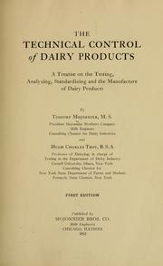 Cover of: The technical control of dairy products
