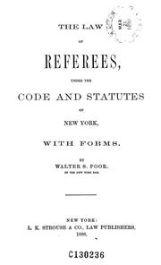 Cover of: The law of referees | Walter S. Poor