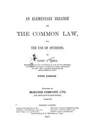 Cover of: An elementary treatise on the common law, for the use of students