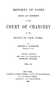 Cover of: Reports of cases argued and determined in the Court of Chancery of the State of New York | Oliver L. Barbour