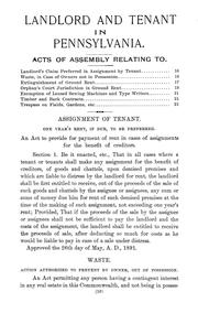 Cover of: Landlord and tenant in Pennsylvania | Willis Reed Bierly