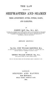 Cover of: The law relating to shipmasters and seamen | Joseph Kay
