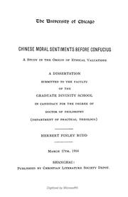 Cover of: Chinese moral sentiments before Confucius