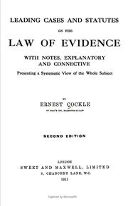 Cover of: Leading cases and statutes on the law of evidence | Ernest Cockle