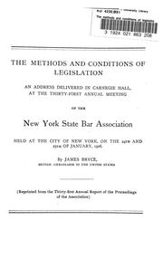 Cover of: The methods and conditions of legislation