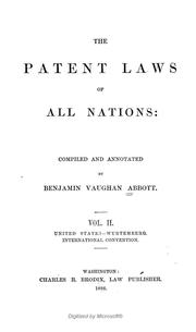 Cover of: The patent laws of all nations | Benjamin Vaughan Abbott