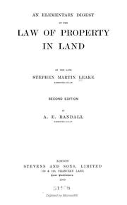 An elementary digest of the law of property in land