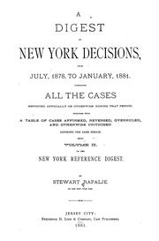 Cover of: A digest of New York decisions
