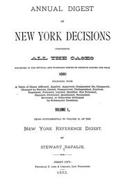 Cover of: Annual digest of New York decisions