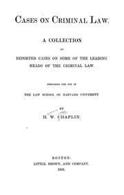 Cover of: Cases on criminal law | Chaplin, Heman White