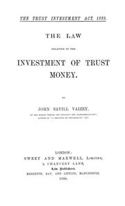 Cover of: The trust investment act, 1889