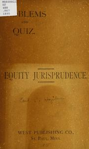 Cover of: Problems and quiz on equity jurisprudence