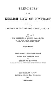 Cover of: Principles of the English law of contract and of agency in its relation to contract