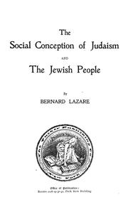 Cover of: The social conception of Judaism and the Jewish people