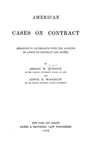 Cover of: American cases on contract | Ernest W. Huffcut