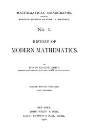 Cover of: History of modern mathematics