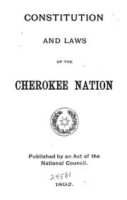 Constitution (1839) by Cherokee Nation., Cherokee Nation