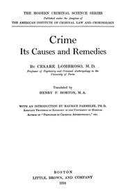 Cover of: Crime, its causes and remedies