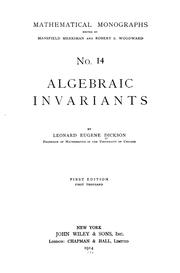 Cover of: Algebraic invariants