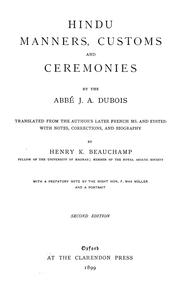 Cover of: Hindu manners, customs and ceremonies | J. A. Dubois