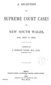 Cover of: A selection of Supreme Court cases in New South Wales | New South Wales. Supreme Court.