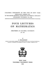 Cover of: Four lectures on mathematics