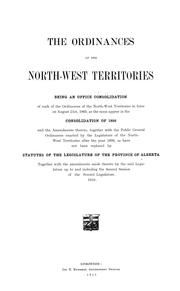 Cover of: The ordinances of the North-West Territories | Northwest Territories