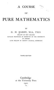 Cover of: A course of pure mathematics