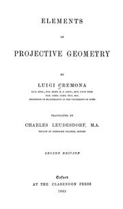 Cover of: Elements of projective geometry