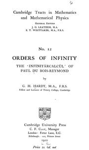 Cover of: Orders of infinity