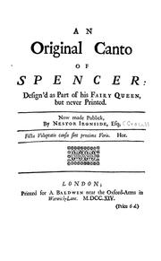 Cover of: An original canto of Spencer [sic] design'd as part of his Fairy queen, but never printed