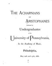 Cover of: The Acharnians of Aristophanes | Aristophanes