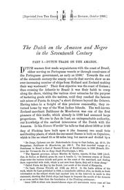 Cover of: The Dutch on the Amazon and Negro in the seventeenth century