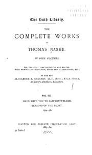 Cover of: The complete works of Thomas Nashe. | Nash, Thomas